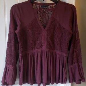 American Eagle Outfitters Ruffle Lace Top